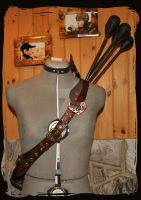 leather quiver elven front view by Lagueuse
