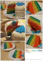 omnomnom rainbow cake by Seraphania