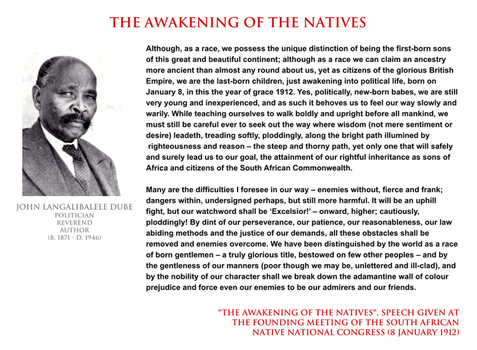 John L Dube - the awakening of the Natives by YamaLama1986