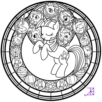 Stained Glass: Twlight Sparkle -line art- by Akili-Amethyst