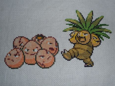 Cross-stitched Exeggcute Family by Midnightfables