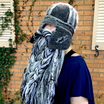 Gray black and silver Celtic helm in wool by Drgibbs