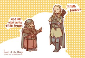 Gimli and Legolas by haleyhss