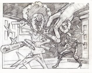 Huey P. Freeman vs Ninjas drawing by G-Brewer
