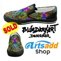 Octopus Psychedelic Women's Canvas Shoes  by Bluedarkat