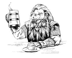 Gloin the Dwarf, with ale and a cupcake by cfgriffith