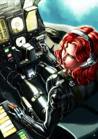 Black Widow at the cockpit by cric