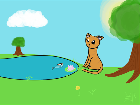 Kitty By Pond With Fish {Done} by kingster333