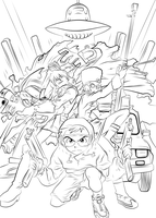 FLCL - Fooly Cooly Lineart by l3xxybaby