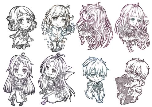 CF2014 : Chibies Bookmarks lineart by shootingstarsgrazing