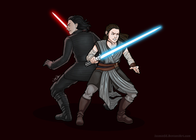 Rey and Kylo - The Last Jedi by JasminSC