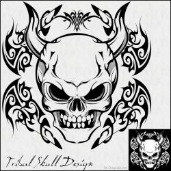 Tribal Skull Design by SKoriginals