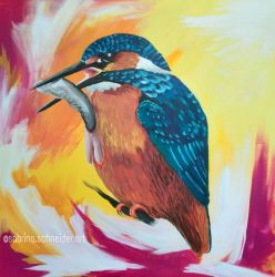 Kingfisher with fish by Milana87