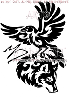 Tribal Raven And Wolf Memorial Design by WildSpiritWolf