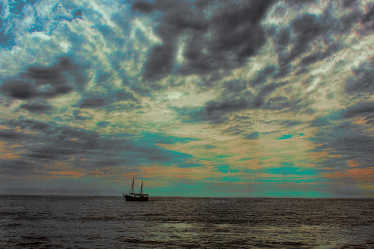 Boat in the sea by sonatabrej