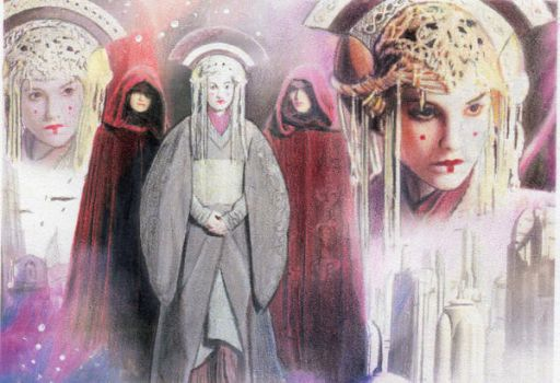 Star Wars Queen Amidala Collage Sketchcard by TRENTBRUCE