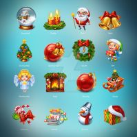 Christmas set of 16 cute icons. by st-valentin