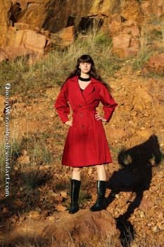 Red trenchcoat by Glamaker on sunset mountain III by QueenWerandra