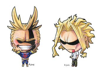 Chibi All Might and Chibi True Form All Might by AnimeGirlMika