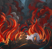 Through The Fire And Flames by fallenDragonfly