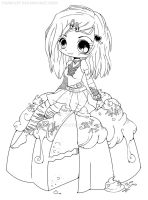 Goth Chibi on a Cake Lineart by YamPuff