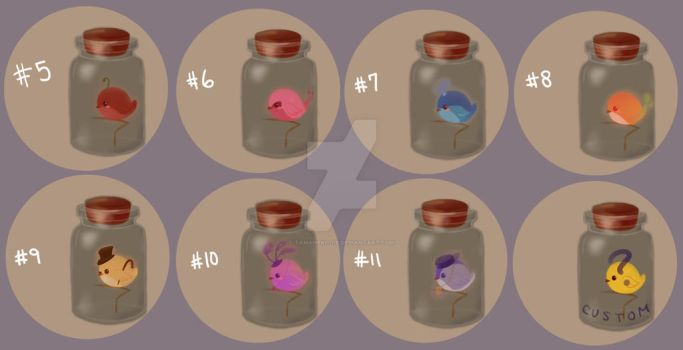 [Adoptables] Bottle Birdies [5/7 OPEN] by tamaneko-i-b