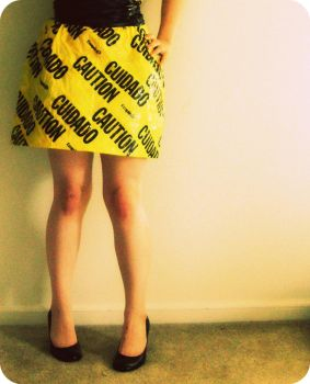 CAUTION? Skirt Front by anemicrose13