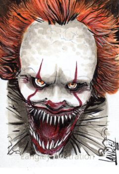 Pennywise Copic sketchcard by Shawn-Langley