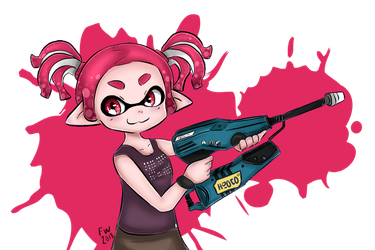 My squiddo and favorite weapon by ForgottenWinds