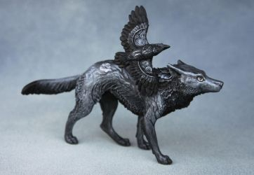 Gothic wolf with raven by hontor