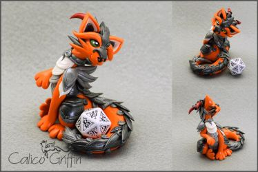 Orange armored Cayo Dragon - dice holder by CalicoGriffin