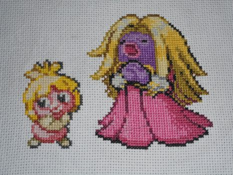 Cross-stitched Smoochum Family by Midnightfables