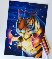Peace - tiger drawing by Bajan-Art