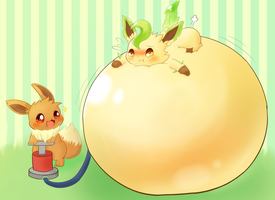 puffed up Leafeon by Eevee with air pump by koujikouji326