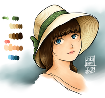 Girl in a straw hat by Jokohama
