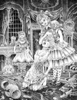 Cinderella and her two evil sisters by victor-jaquier