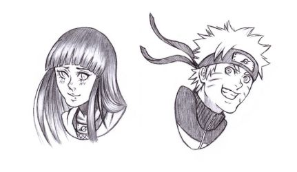 headshot pcm - Naruto and Hinata by bittersweet-Grace