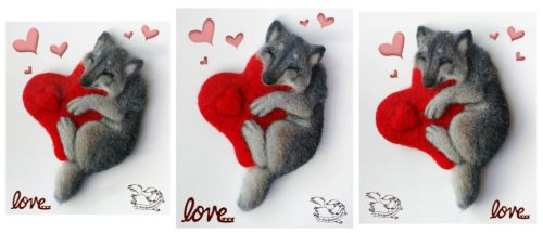Needle felted magnet wolf cub by YuliaLeonovich