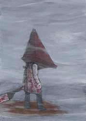Pyramid Head in the fog by Yamallow