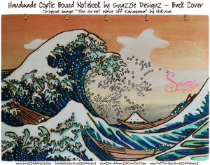 The Great Wave Pyrograph on Coptic Bound Journal by snazzie-designz