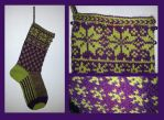 Christmas stocking - purple and green - COMMISSION by KnitLizzy