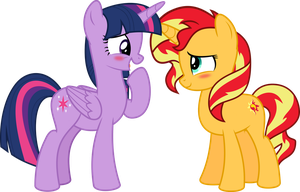 MLP Vector-Twilight Sparkle and Sunset Shimmer #3 by jhayarr23