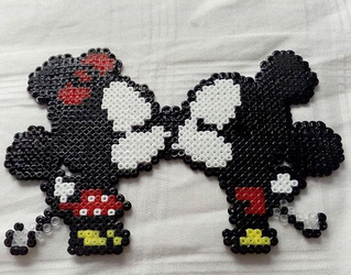 Mickey and Minnie Mouse in Hama Beads by Byakko92