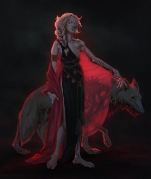 Hel with Garmr by JMichek