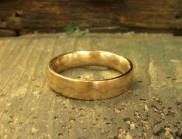 Scribbled Path mokume inspired wedding band by fairyfrog