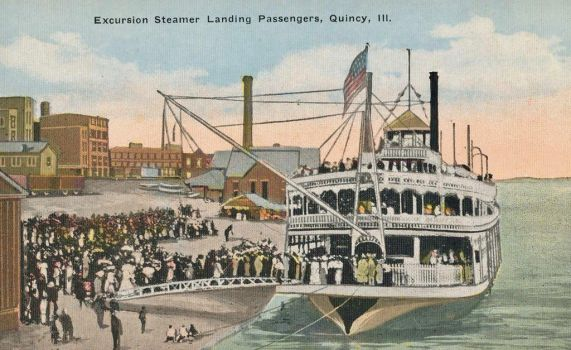 Vintage Illinois - Excursion Steamer, Quincy by Yesterdays-Paper