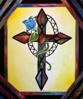 stain glass cross by JaqD