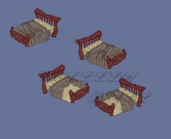 Mideval wooden bed by MakaiFox
