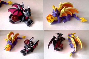 Spyro and Cynder D20 Dice Pair by Alexandrite-Dragons