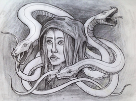 girl and snakes by minffee